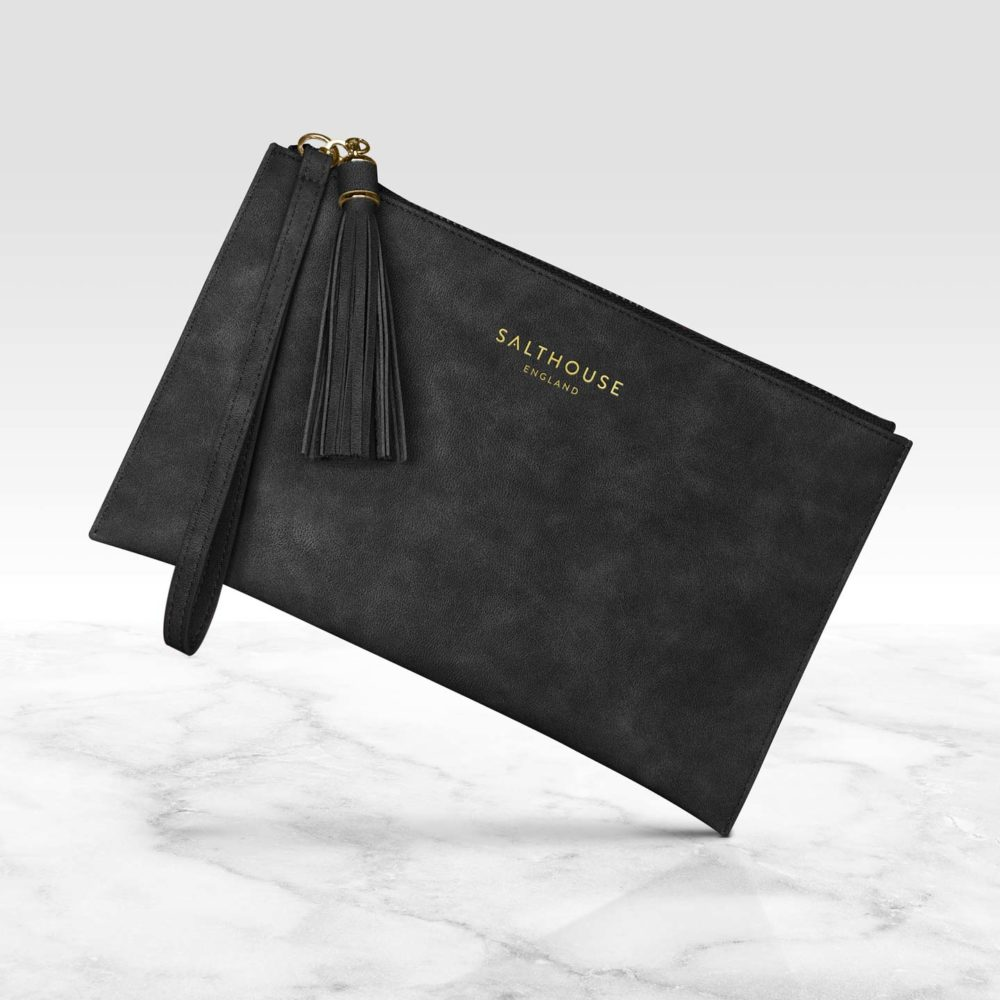Beautiful Black clutch bag by Salthouse England