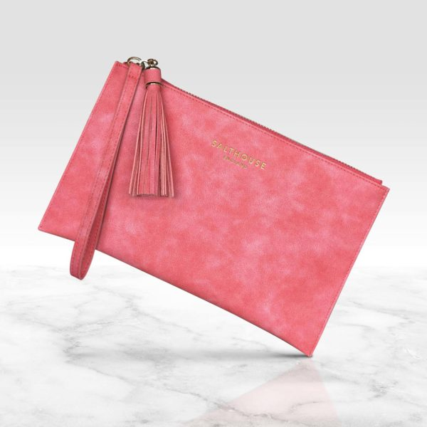 Coral clutch bag by Salthouse England